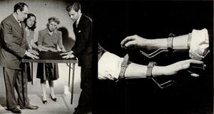 Table-turning - Joseph Dunninger revealing a fraudulent hidden hook method for table-turning.