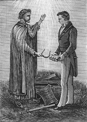 Golden plates - An 1893 engraving depicting Joseph Smith's description of receiving artifacts from the angel Moroni. The artifacts include the golden plates and a set of spectacles made of seer stones, which Smith called the Urim and Thummim. The sword of Laban and an ancient breastplate are shown nearby.