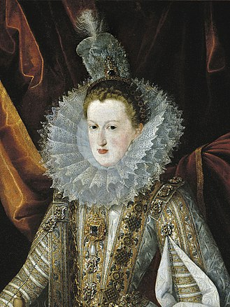 La Peregrina pearl - Juan Pantoja de la Cruz, Margaret of Austria, Queen of Spain wearing the pearl (c. 1606)