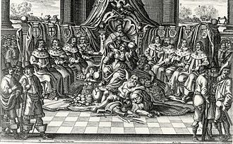 Imperial election - The Emperor and the Eight Electors (of Trier, Cologne, Mainz, Bohemia, Bavaria, Saxony, Brandenburg and the Electorate of the Palatinate). Copper engraving by Abraham Aubry, Nuremberg, 1663/64.