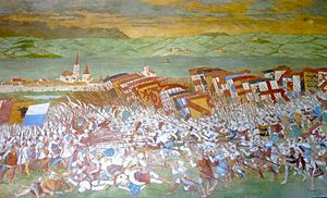 Battle of Sempach - The battle scene in the fresco in the battle chapel at Sempach. 1886 restoration of a 17th-century painting, which was in turn based on a 16th-century work.