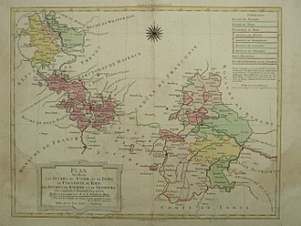 Electoral Palatinate - Contemporary map showing the Palatinate and other lands ruled by Charles Theodore