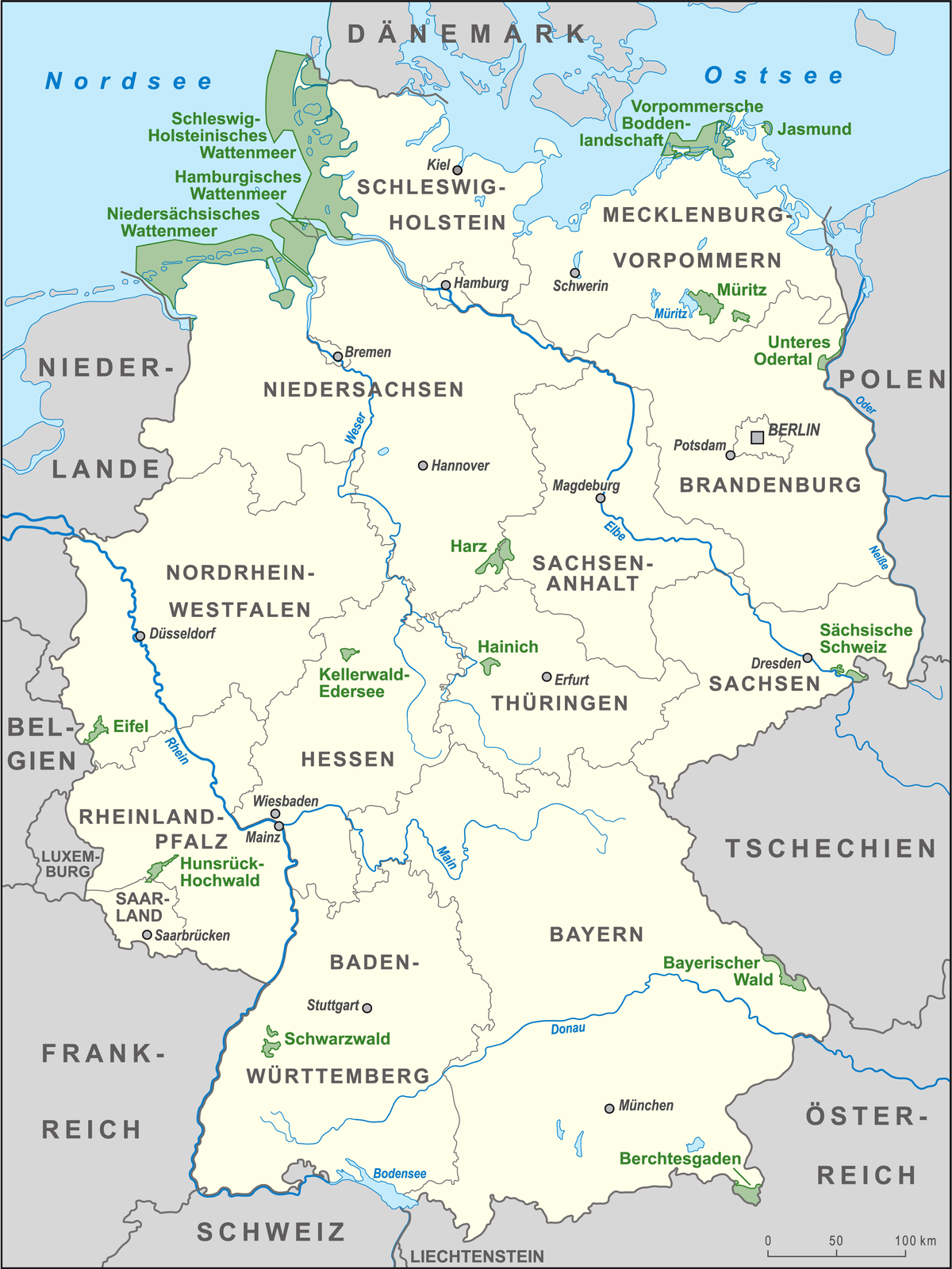 parks deutschland karte List of national parks of Germany   Wikipedia