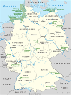 map of all 16 german national parks 2014