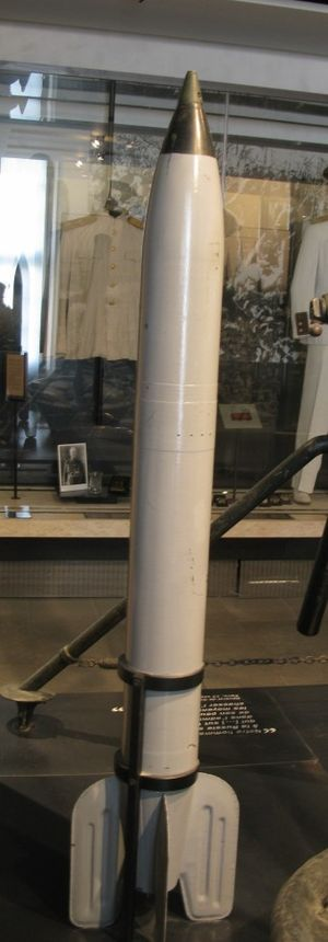 Nitrocellulose - An M13 rocket for the Katyusha launcher on display in the Musée de l'Armée: Its solid-fuel rocket motor was prepared from nitrocellulose.