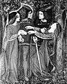 Kiel ili memtrovis sin, akvopentraĵo de Dante Gabriel Rossetti, 1864.jpg