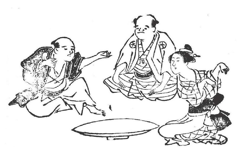 Kitsune-ken (狐拳), Japanese rock-paper-scissors variant, from the Genyoku sui bento (1774)