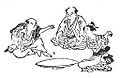 Kitsune-ken (狐拳), Japanese rock-paper-scissors variant, from the Genyoku sui bento (1774).jpg