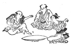 Sansukumi-ken - Kitsune-ken, another Japanese sansukumi-ken game (1774). From left to right:  Hunter (ryōshi), village head (shōya), and fox (kitsune).