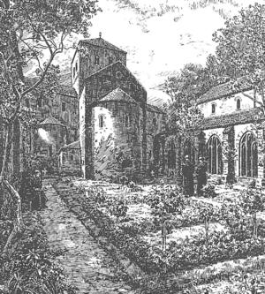 Monastery of St. Michael (Heidelberg) - Monastery garden, by Heinrich Hoffmann