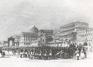 Esplanade, Kolkata - Esplanade Row (East) in the 19th century – a painting by Allom, T.