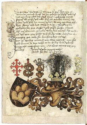 Conrad Grünenberg - Image: Konrad von Grünenberg Beschreibung der Reise von Konstanz nach Jerusalem Blatt 50v 106