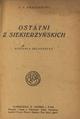 Kraszewski Józef Ignacy Ostatni zSiekierzyńskich wyd 1925 str tytułowa.png