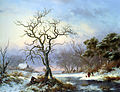 Kruseman Fredrik Marinus Faggot Gatherers in a Winter Landscape 1853 Oil On Panel.jpg