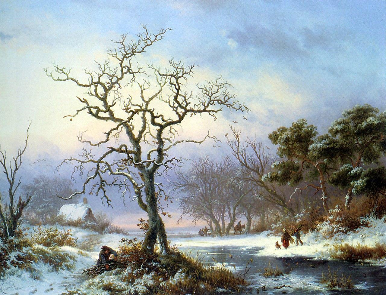 https://upload.wikimedia.org/wikipedia/commons/thumb/9/9d/Kruseman_Fredrik_Marinus_Faggot_Gatherers_in_a_Winter_Landscape_1853_Oil_On_Panel.jpg/1280px-Kruseman_Fredrik_Marinus_Faggot_Gatherers_in_a_Winter_Landscape_1853_Oil_On_Panel.jpg