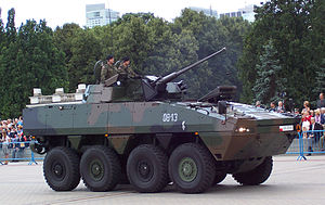 Polish Army KTO Rosomak with small propellers at the back of the vehicle