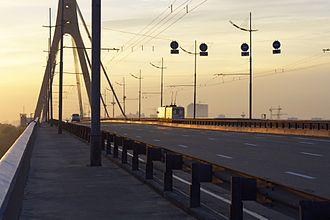 Transport in Kiev - Pivnichnyi Bridge over the Dnieper