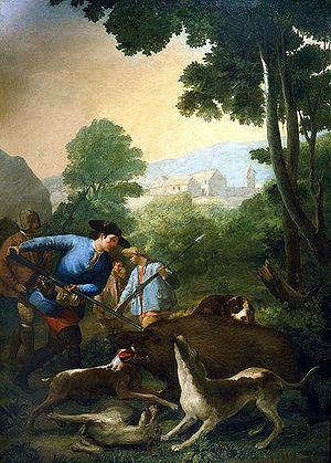 La caza del jabali. Cartones para tapices.