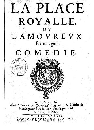 La Place royale - title page from the 1637 edition