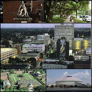 Feuerwache, Allee im University District, Downtown, University of Louisiana und Cajundome