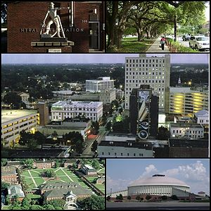 From upper left: Statue in front of downtown fire station, Oak lined street in the University district, Downtown Lafayette, Louisiana, The Cajundome, and the University of Louisiana at Lafayette quad.