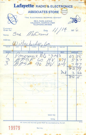 Lafayette Radio Electronics - Sales slip from the US bicentennial year