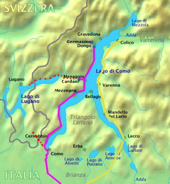 Mussolini's route (pink line) around Lake Como after fleeing Milan Lago di Como33.PNG