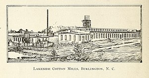 Lakeside Mills Historic District - Hand-drawn image of the Lakeside Cotton Mills
