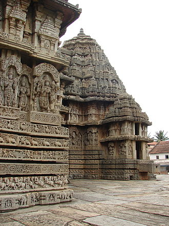 Lakshminarayana Temple, Hosaholalu - Vimana (cella) with tower and exquisite relief at Lakshminarayana temple in Hosaholalu