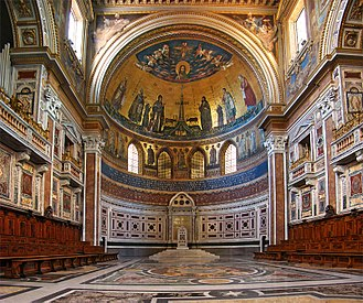Archbasilica of St. John Lateran - The papal cathedra, the presence of which renders the archbasilica the cathedral of Rome, is located in its apse. The decorations are in cosmatesque style.