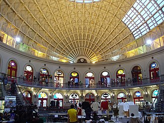 Leeds Corn Exchange - View of the west end of the interior in 2005
