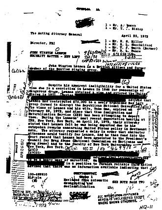 J. Edgar Hoover - Hoover, perhaps at the behest of Richard Nixon, investigated ex-Beatle John Lennon by putting the singer under surveillance, and Hoover wrote this letter to Richard Kleindienst, the US Attorney General in 1972. A 25 year battle by historian Jon Wiener under the Freedom of Information Act eventually resulted in the release of documents like this one.