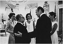 Giovanni Leone, allora presidente della Repubblica italiana, con il presidente USA Gerald Ford nel 1974