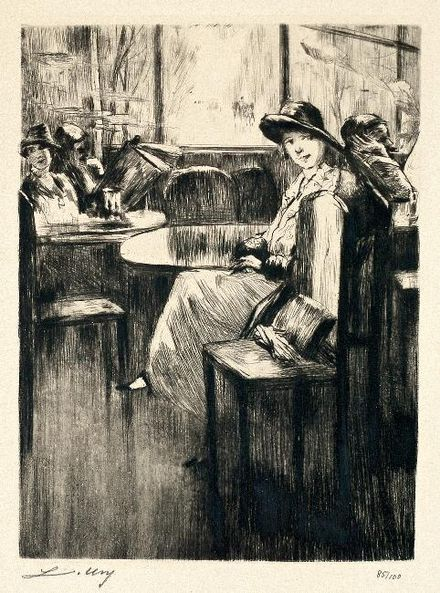Young Girl in cafe with street-view, etching by Lesser Ury, 1924 Lesser Ury Junges Madchen im Cafe.jpg