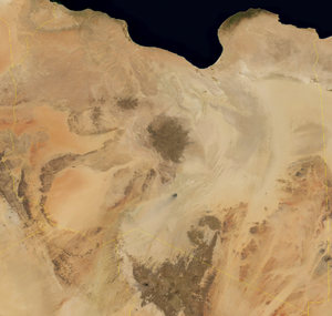 Fezzan - Satellite image of Libya, with Fezzan on the lower left half, showing the large desert