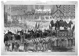 Hush'd Be the Camps To-Day - An image depicting Lincoln's funeral ceremonies in New York City