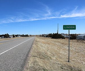 Lindon, Colorado - Looking east on U.S. Route 36 in Lindon.