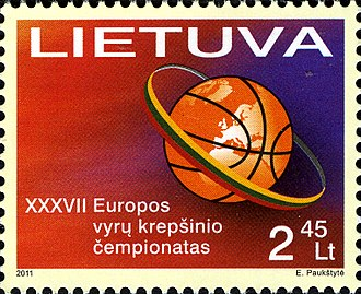 EuroBasket 2011 - Postage stamp issued to commemorate the EuroBasket 2011