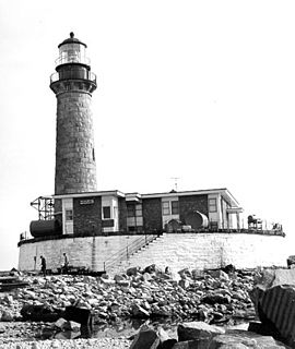 Little Gull Island Light lighthouse on Little Gull Island in the Long Island Sound, New York, United States