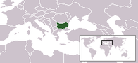 A map showing the location of Bulgaria