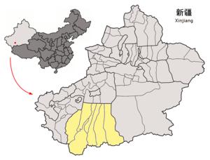 Hotan (şehir)'ın Sincan Uygur Özerk Bölgesidaki konumu
