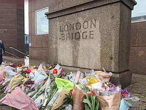 June 2017 London Bridge attack - Floral tributes left on London Bridge following the attack