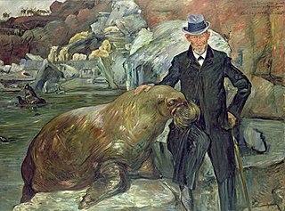 Porträt Carl Hagenbeck mit dem Walroß Pallas