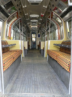London Underground 1983 Stock - The interior of the 1983 tube stock train at the London Transport Museum depot