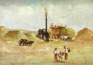 "Sămănătorul - Ludovic Bassarab's La treierat (""Threshing""), showing peasants in Romanian dress around a combine harvester"