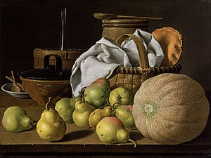 Luis Egidio Meléndez - Still Life with Melon and Pears, oil on canvas, Museum of Fine Arts, Boston