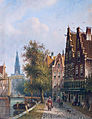 Luttik Oudorp in Alkmaar, in the background the Weigh house tower, by Johannes Franciscus Spohler (1853 - 1923).jpg