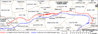 Lycoming Valley Railroad - Map of the Lycoming Valley Railroad (red) and Norfolk Southern Railway (blue) lines in Lycoming County.