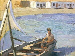 Panormos, Tinos - oil painting, Boat with Sail (Panormos, Tinos) by Nikolaos Lytras dating from 1923-26.