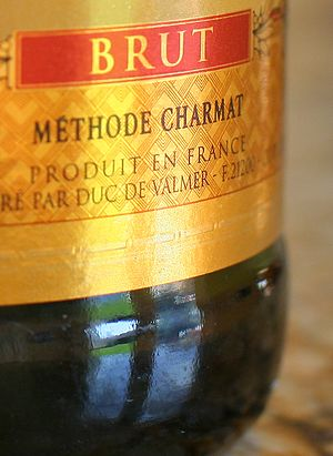 Sparkling wine production - Label detail of a French sparkling wine made using the Charmat process